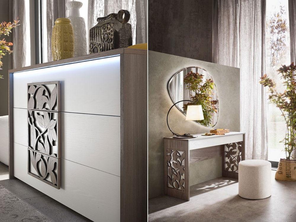 Дизайнерский вариант стола с выразительно украшенным фасадом. Такой предмет мебели, вместе с необычной формы зеркалом, можно сделать центром внимания в спальневариант размещения зоны наведения марафета в гардеробной комнате, если таковая имеется