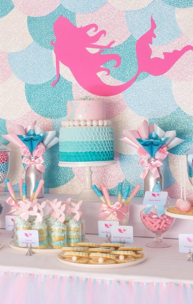 """""""Русалочья"""" тема детского праздника. Главными цветами оформления здесь будут голубой, мятный и аквамарин. Но можно и ярко-розовый, как на фото"""