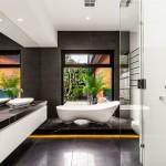 Черно-белая ванная комната (56 фото): шик и оригинальность в вашем доме фото