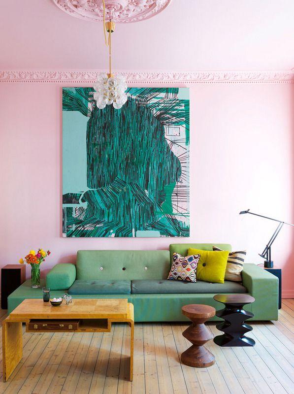 Фото 2 - Нежно-розовый цвет стены придаст утонченности вашем интерьеру
