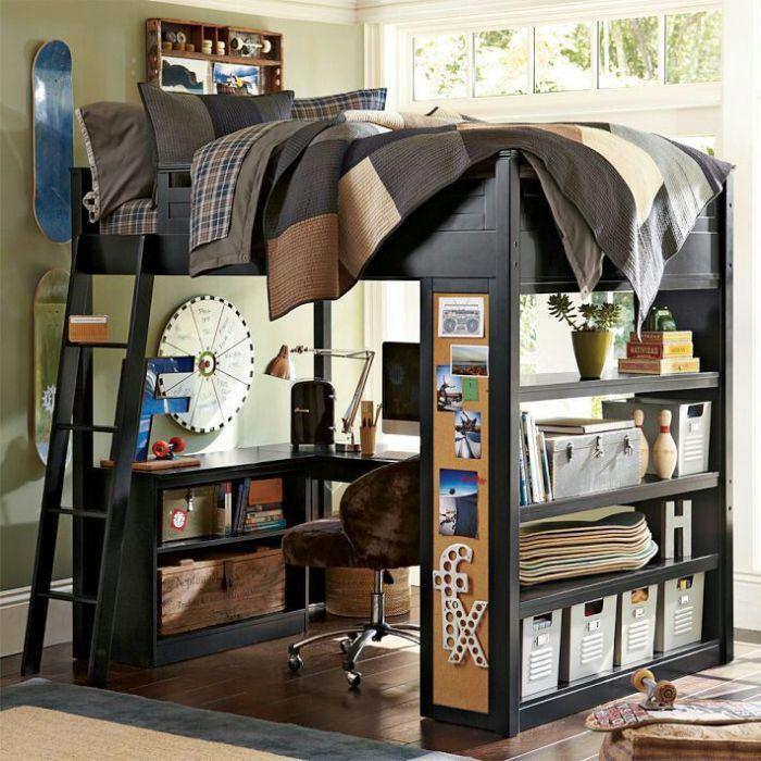 Используйте выделенное пространство по-максимуму. Кровать на подиуме с рабочей зоной под ней - отличный заинтересовать ребенка