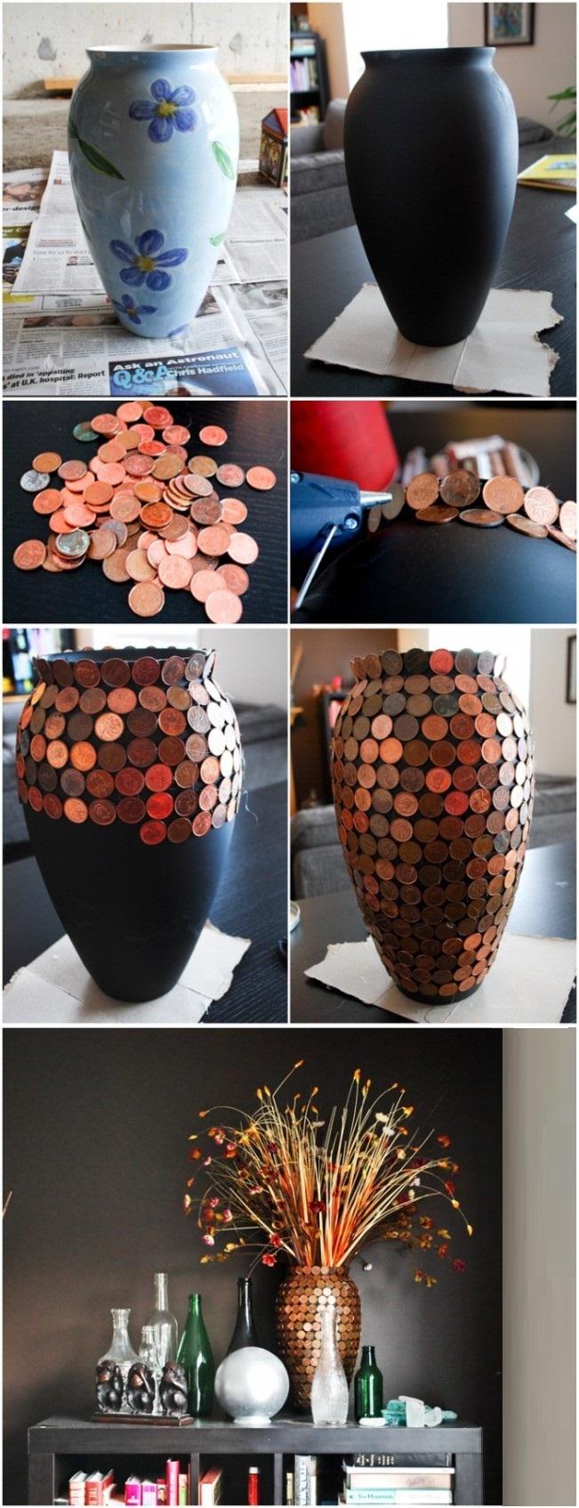 Интересный вариант создания вазы с помощью окрашивания матовой краской и оклеивания монетами