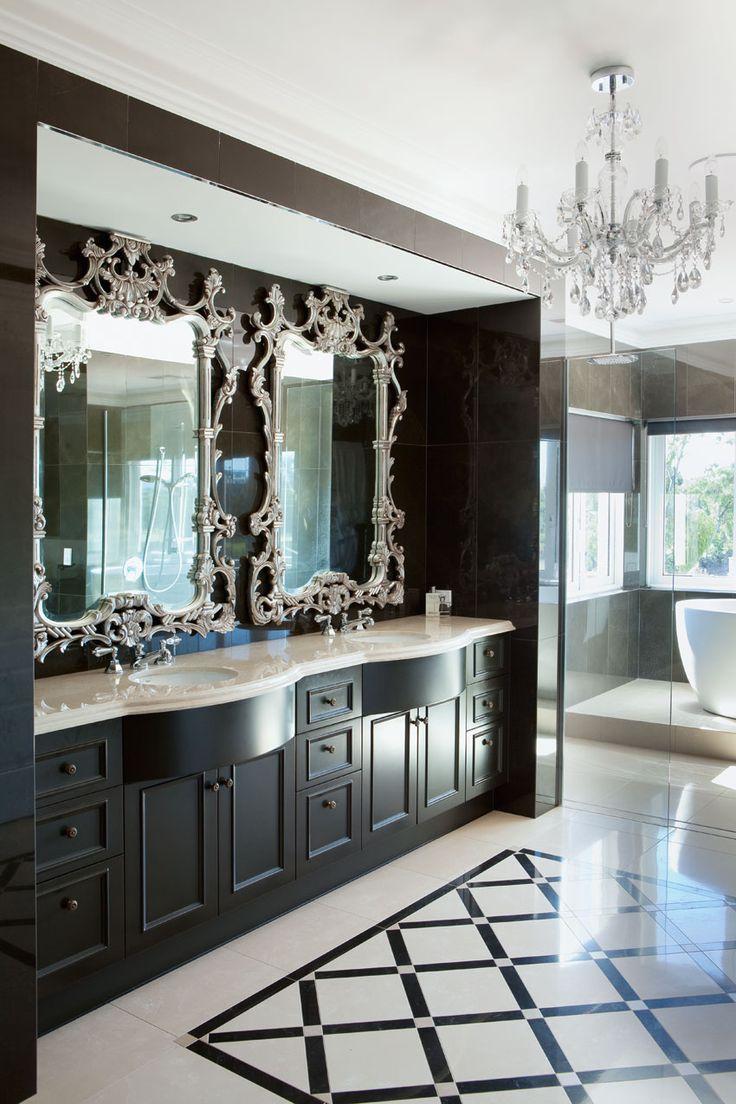 Фото 11 - Черно-белая ванная в классическом стиле
