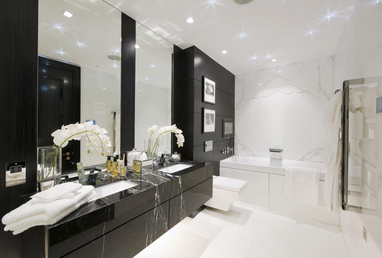 Фото 21 - Очень важную роль в черно-белой ванной имеет освещение, чем его больше, тем эффектней выглядит весь дизайн