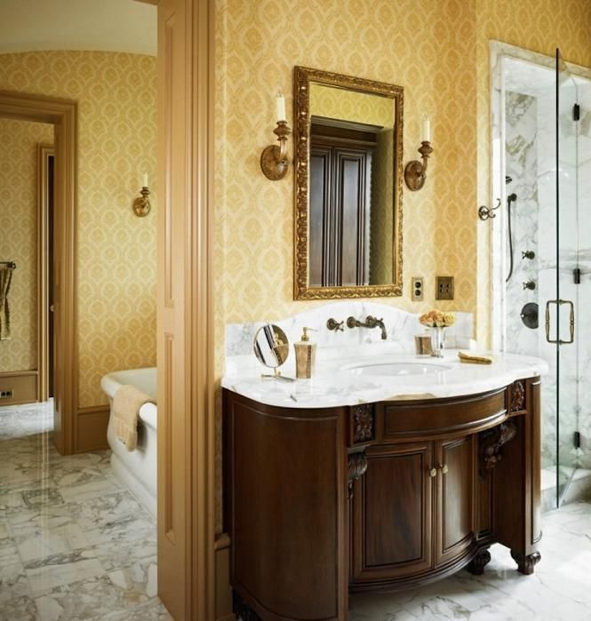 Простой рисунок и цвет будут прекрасно смотреться в ванной любого стиля