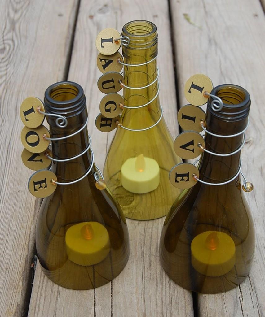 Подсвечники из бутылок своими руками фото