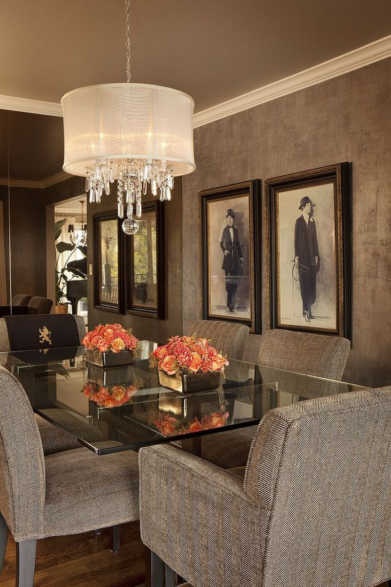 Dining rooms with chandeliers