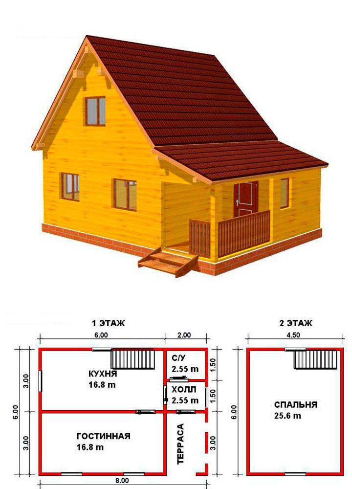 Проект дома с мансардой и небольшой террасой