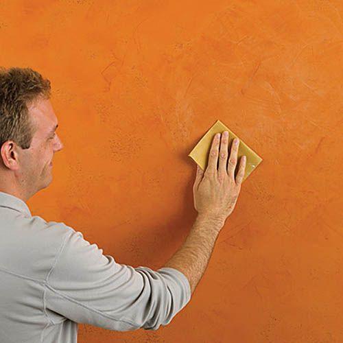 Обработка шкуркой застывшего фактурного покрытия