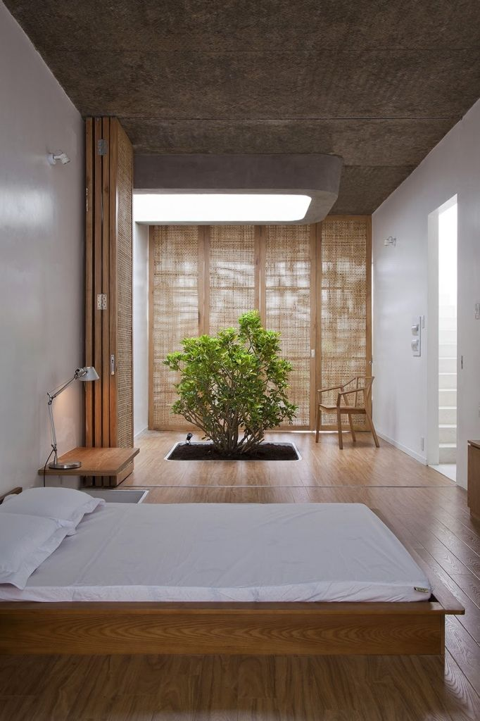 Живой куст, растущий из земли прямо в комнате - яркий элемент в сдержанной японской спальне