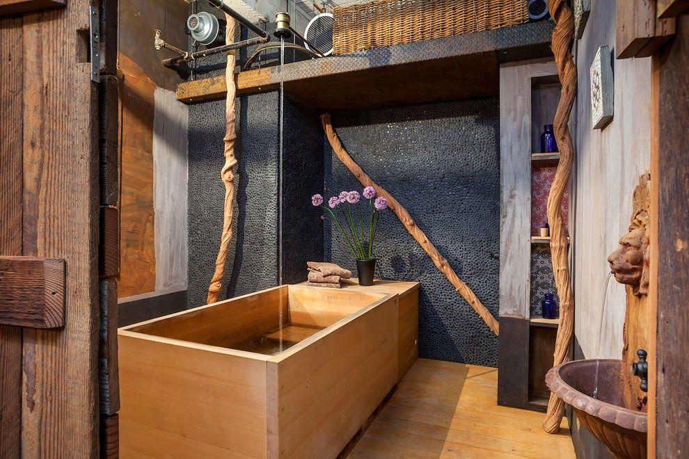 Натуральные материалы делают это ванную комнату по-настоящему роскошной