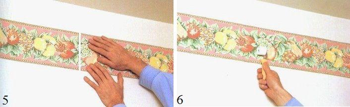 Пока клей не высох, положение полосы бордюра можно подкорректировать прямо на стене