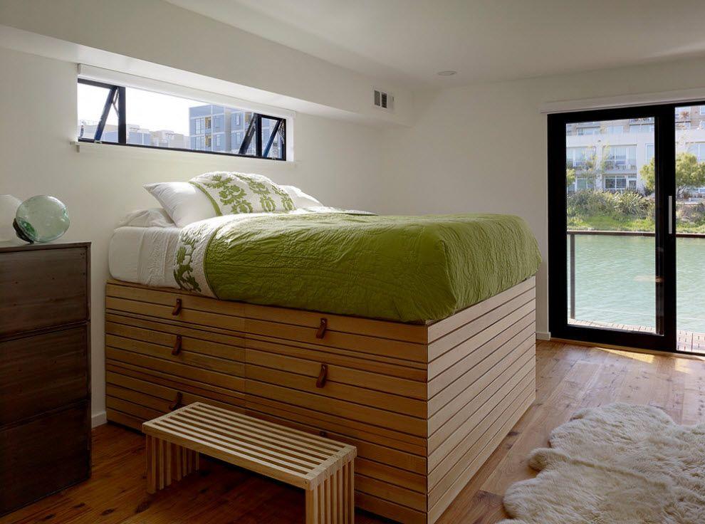 Подиум из ящиков - полноценный элемент дизайна кровати