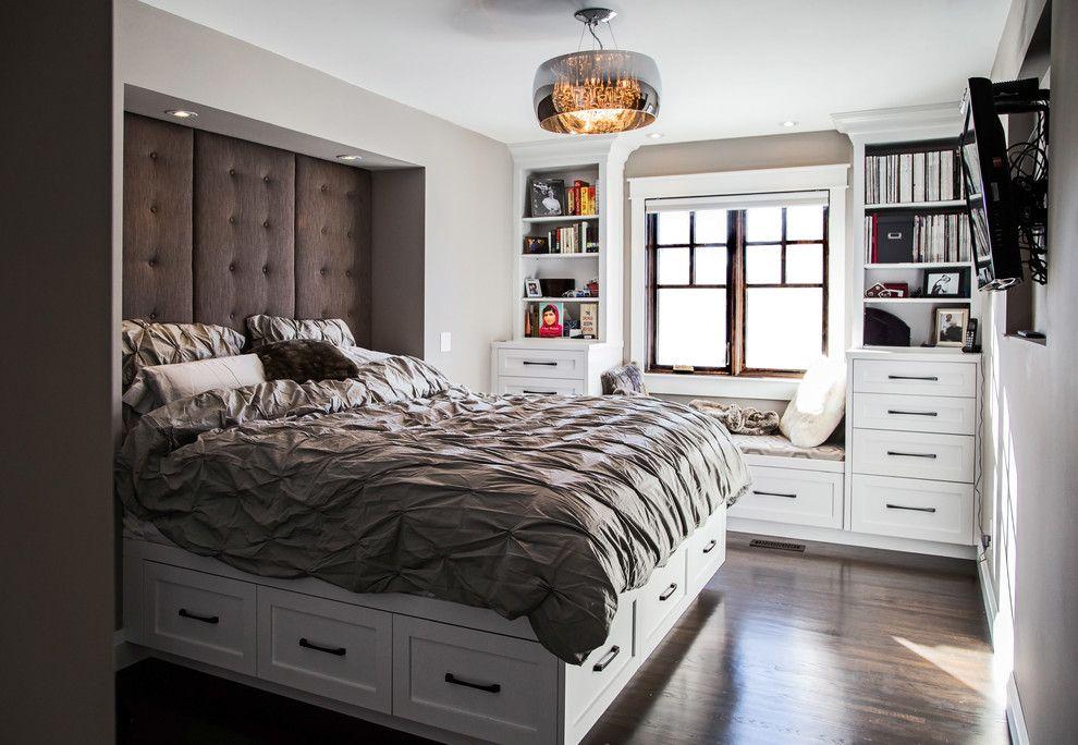 Такая кровать с вместительными ящиками является воплощением строгости и изящества
