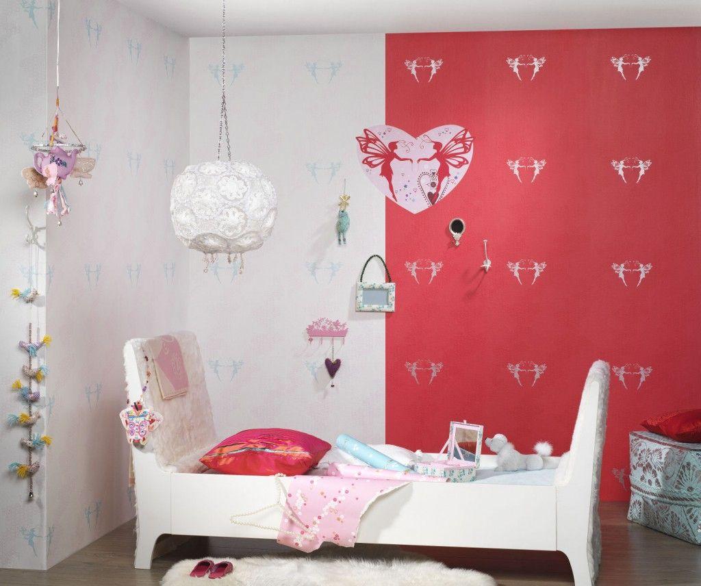 Фото 12 - Утонченные красно-белые обои в комнате для девочки