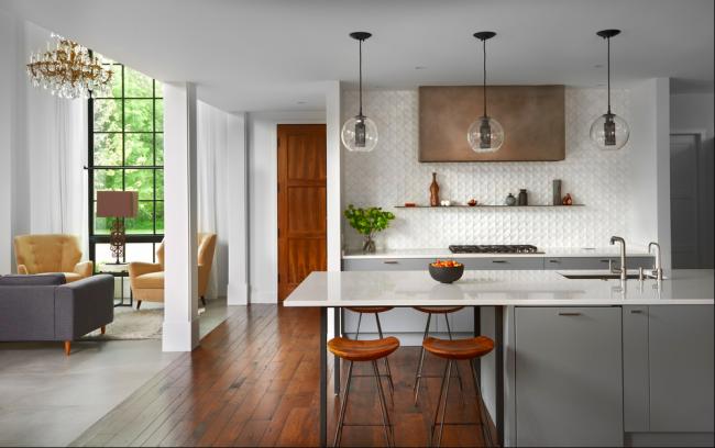 Отделка кухни панелями МДФ в интерьере современной кухни
