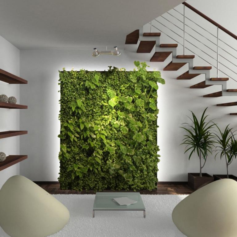 Вертикальный сад со специальной подсветкой