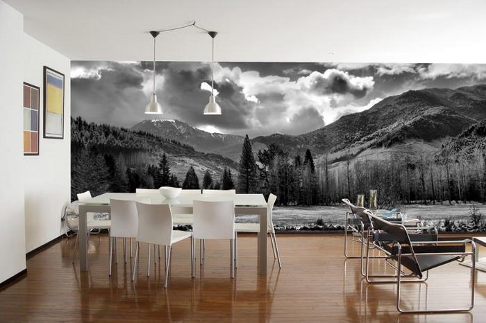 Черно-белый пейзаж на всю стену в гостиной