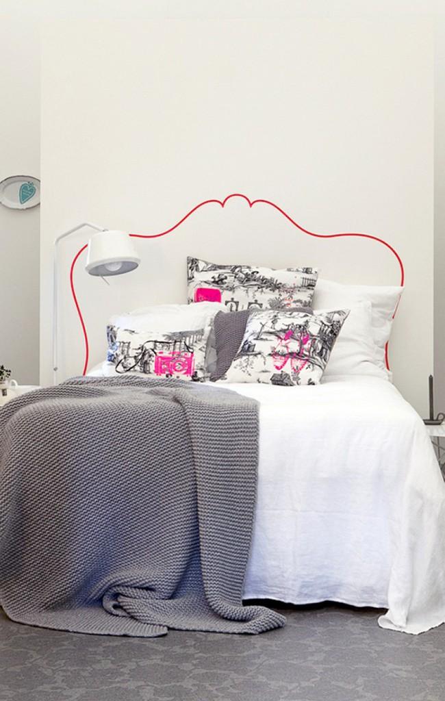 Если оригинальный дизайн кровати подчеркнуть не менее оригинальным изголовьем в виде трафаретного рисунка на стене, то интерьер спальни сразу же преобразится