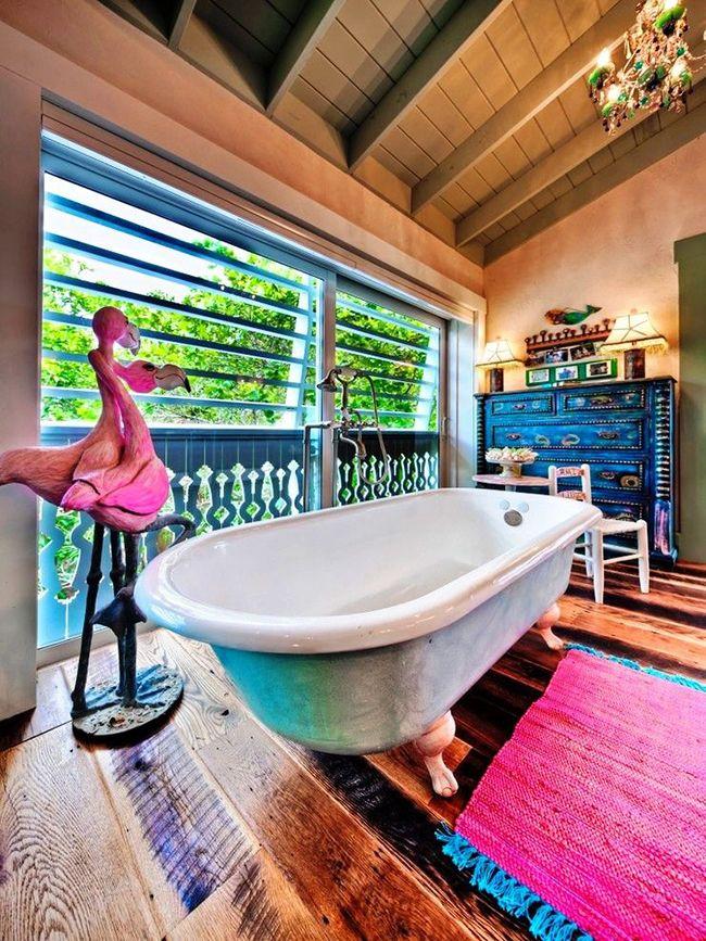 Сочетание розового с голубым: стильно, экстравагантно – отличный вариант банного коврика