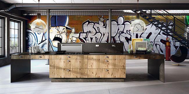 Современный дизайн кухни из твердой древесины на фоне стильного граффити