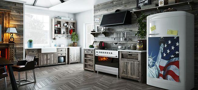 Отличная комбинация натурального серого дерева и правильно подобранного освещения в интерьере кухни американского стиля