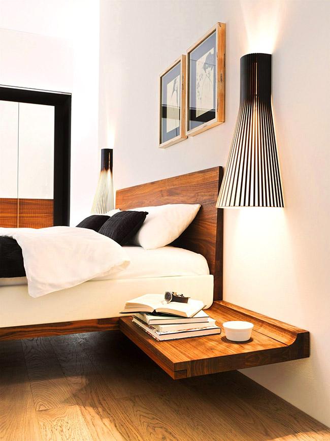 Строгий дизайн деревянной кровати станет выигрышным дизайнерским решением