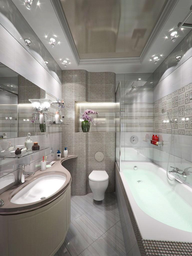 Глянцевое натяжное полотно в раме с гипсокартона - вариант двухуровневого потолка для вашей ванной
