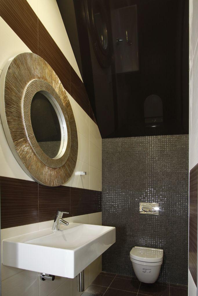 Стильный элемент вашей ванной комнаты - натяжной потолок, особенно, когда он выполнен в черном цвете