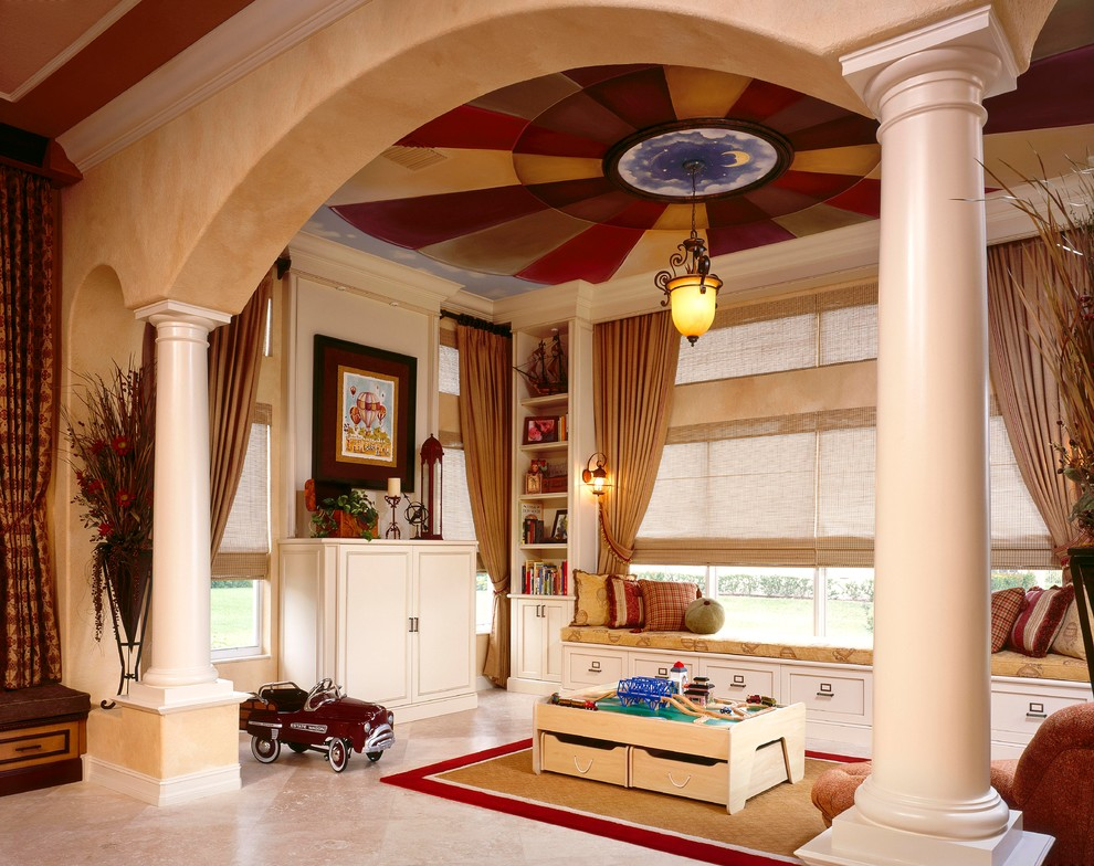 Жизнерадостные цвета потолка способствуют гармоничному развитию ребенка
