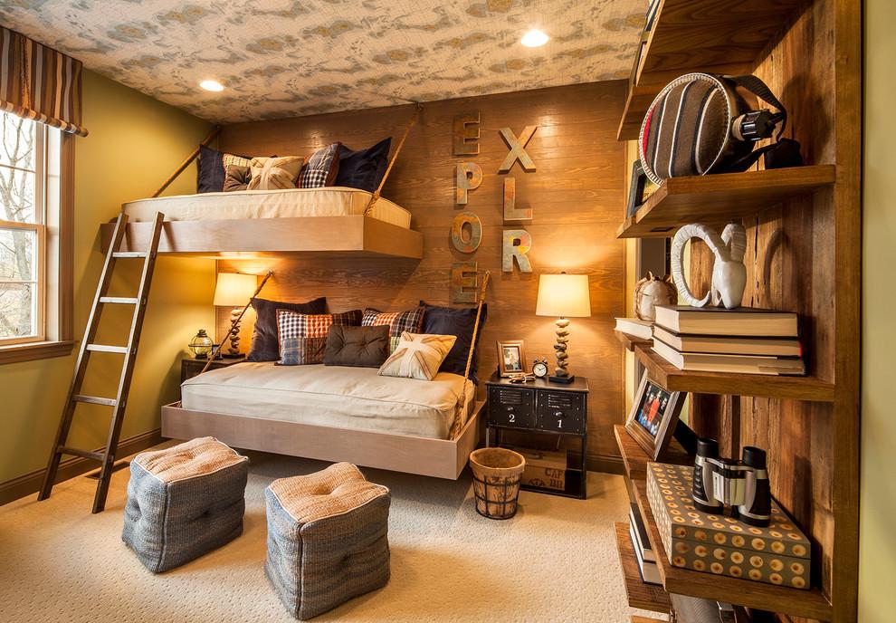 Для деревенского стиля детской комнаты лучше выбрать спокойный кофейный оттенок