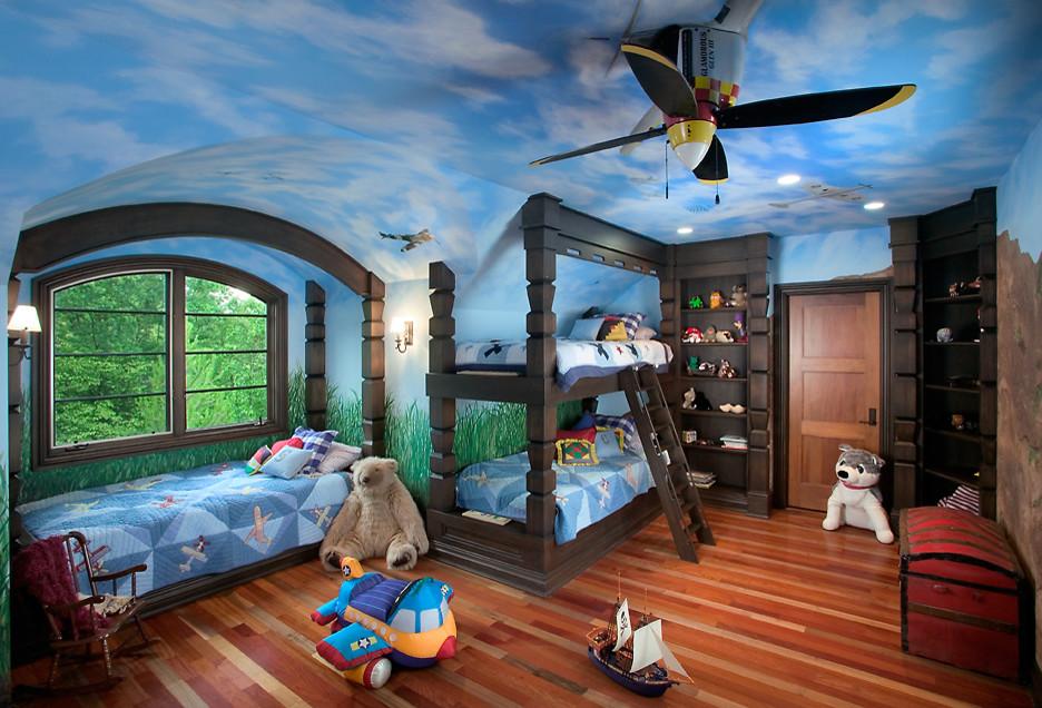 Интересный вариант дизайна потолка в помещении детской, парящие самолёты в небе - это мечта ребенка, воплощенная талантом и фантазией дизайнера