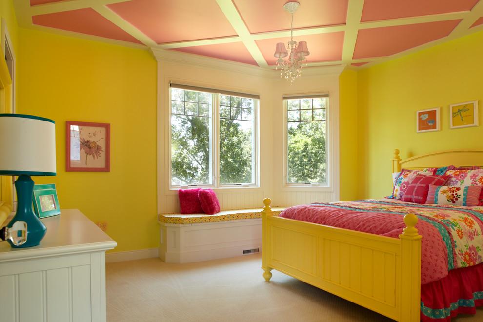 Если для потолка использовать кессоны, то детская будет выглядеть необычно и весьма привлекательно, не нарушая целостности облика комнаты