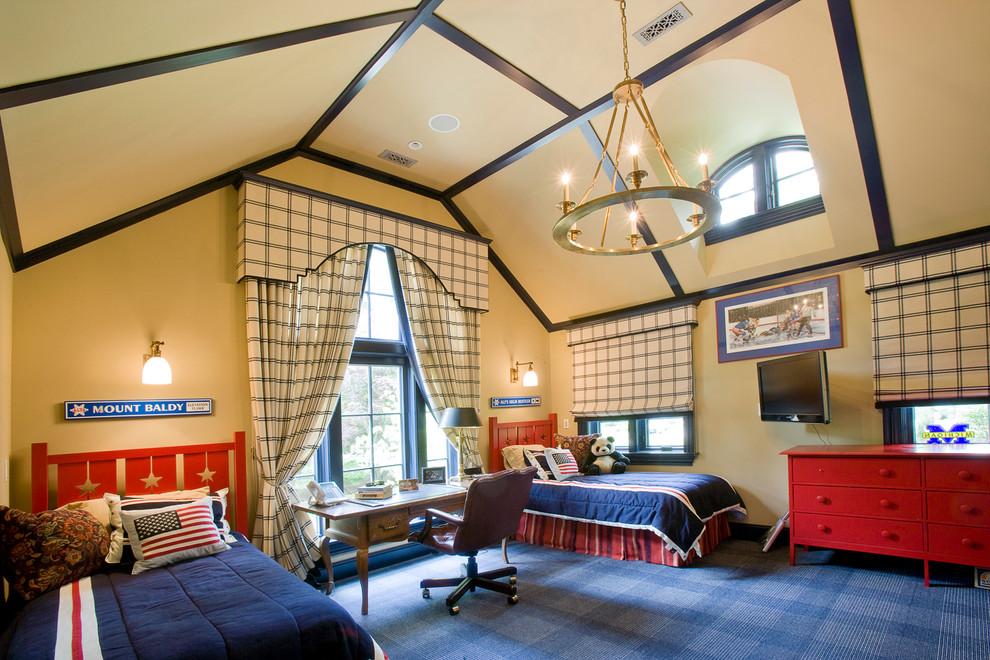 Окрашенные в бежевый цвет стены и потолок, создадут спокойную и комфортную атмосферу в детской комнате не зависимо от погоды и от времени года