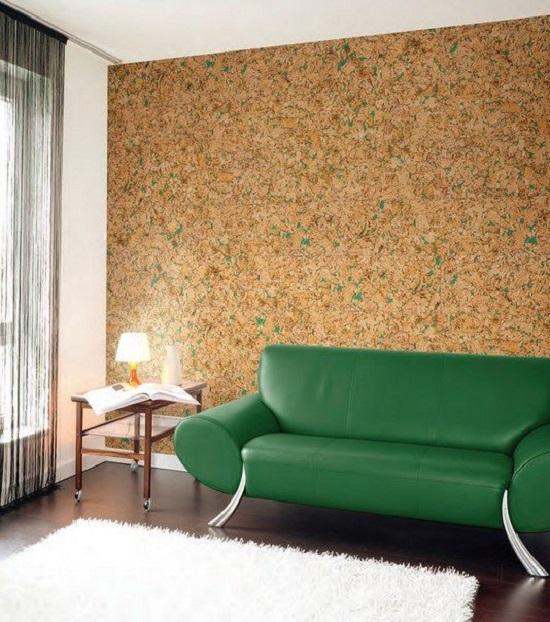 Цвет основы пробковых обоев может отлично сочетаться с цветом Вашей мебели