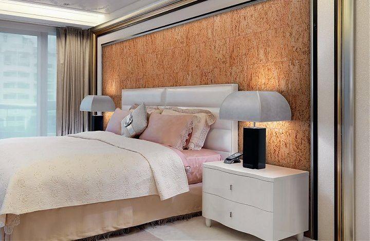 Пробка - отличный материал для оформления спальни
