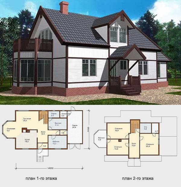 Проект финского дома из бруса №1