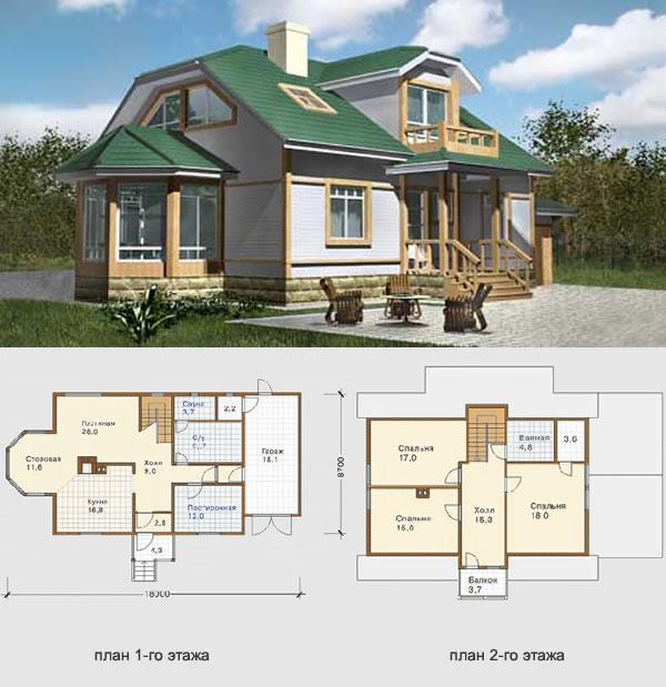 Проект финского дома из бруса №2