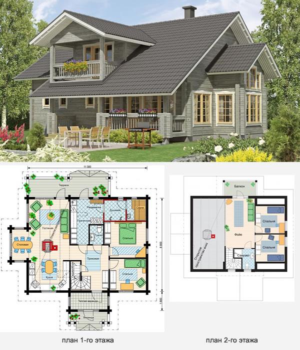 Проект финского дома из бруса №4