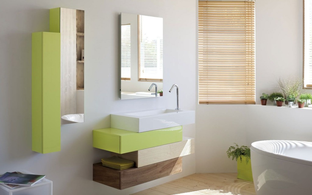 Прямоугольная раковина, которая состоит в композиции с такими же прямоугольниками-шкафами разного цвета