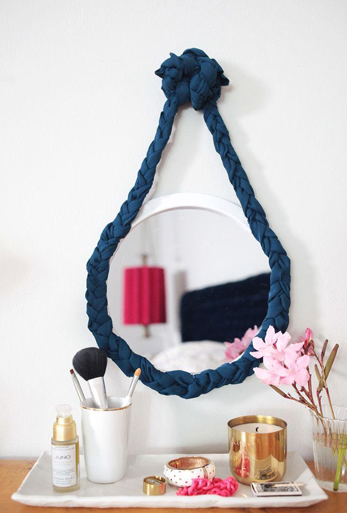 Оригинальная рама для зеркала из веревочного каната