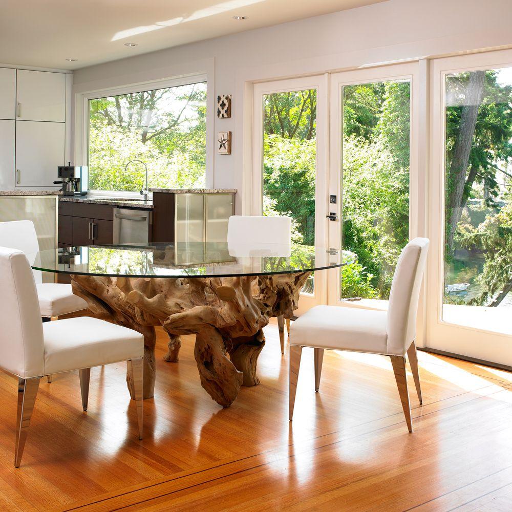 Коряга - прекрасное декоративное решение для стола со стеклянной столешницей