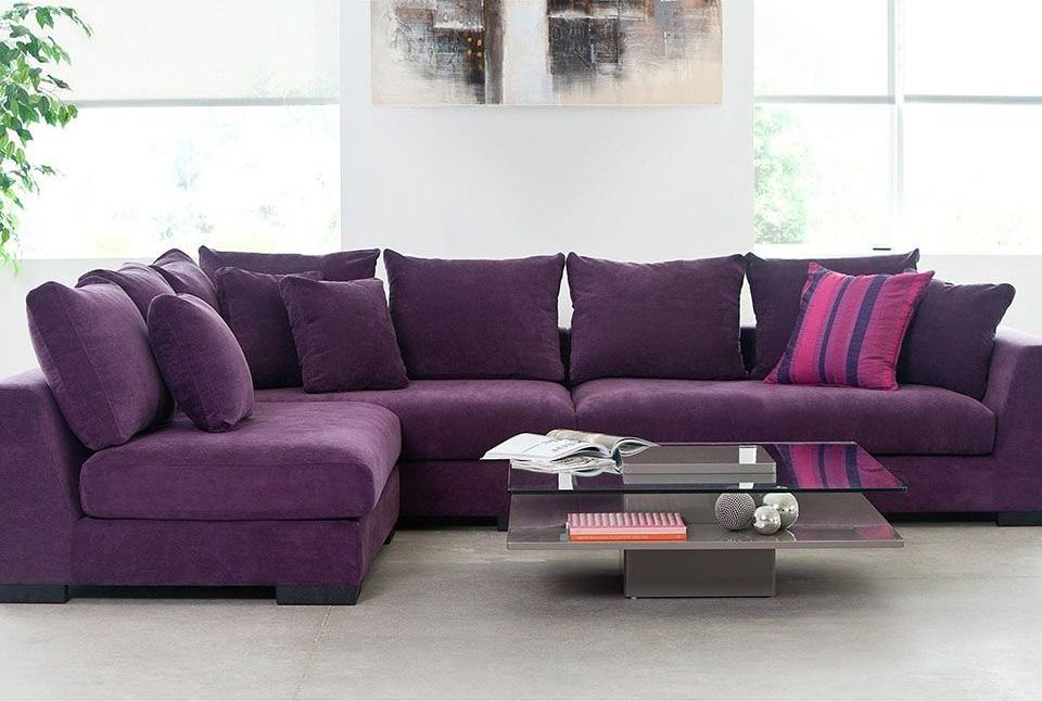 Фиолетовый угловой диван с механизмом американская раскладушка