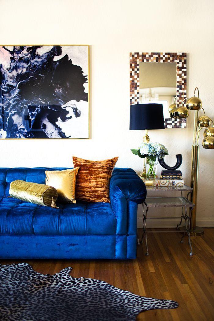 Синий диван с механизмом американская раскладушка