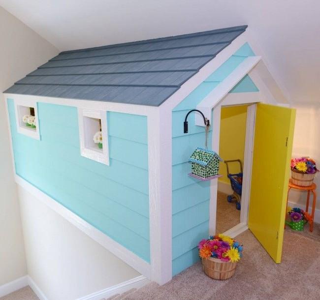 Домашний игровой домик голубого цвета