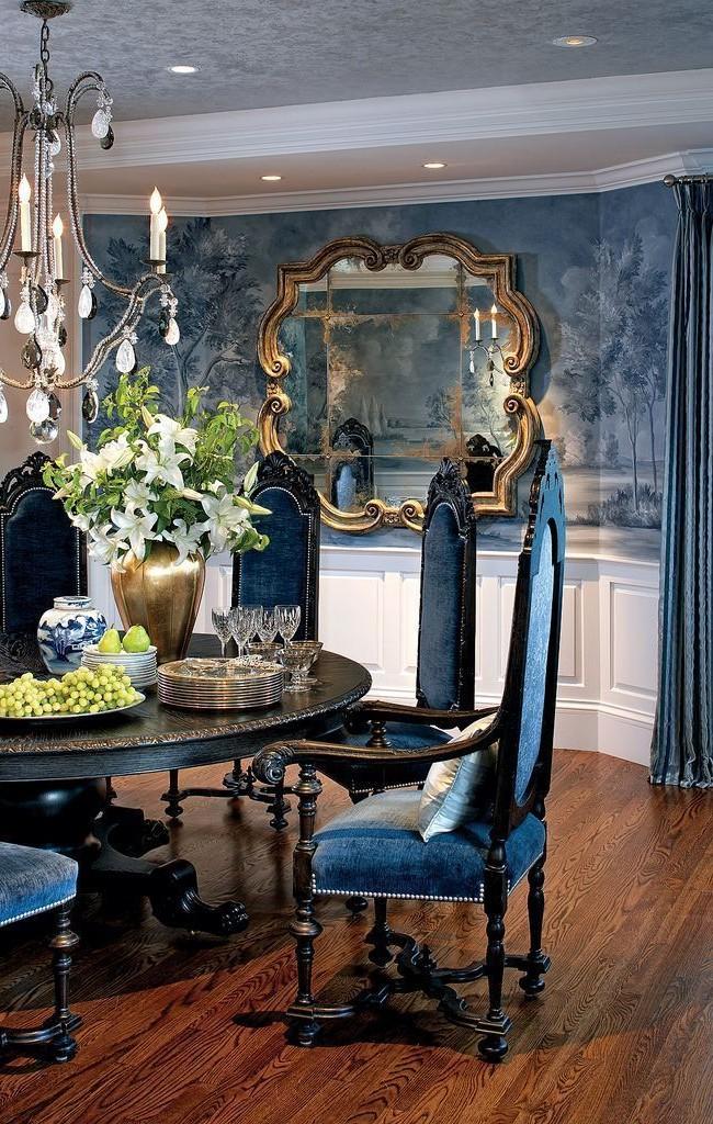 Гостиная комната в сине-голубых тонах