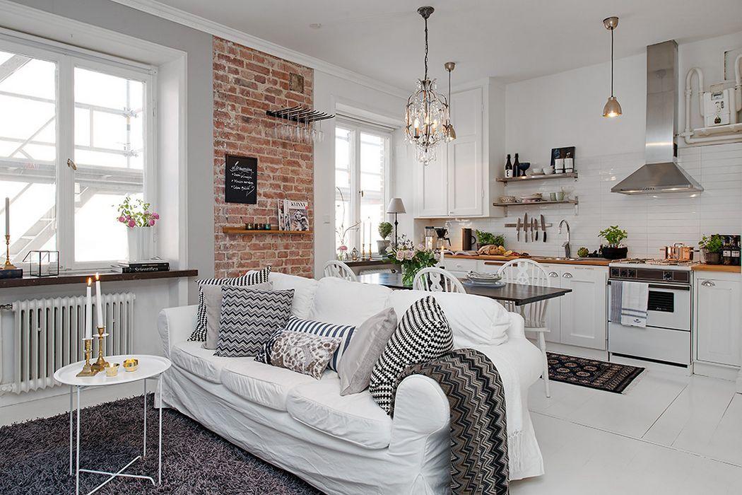 Декоративная кирпичная стена улучшает восприятие интерьера