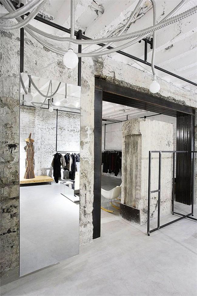 Дизайн магазина женской одежды в стиле лофт