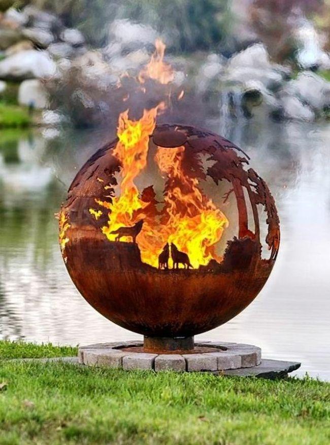 Кованый мангал в виде шара