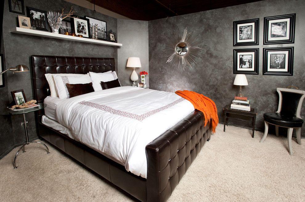 Кожаная кровать насыщенного шоколадного цвета